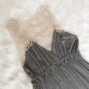 Poof Dresses - Heather Grey Crochet Maxi Dress
